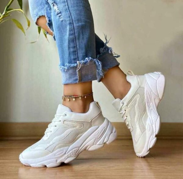 Zapatillas altas para damas blanco entero