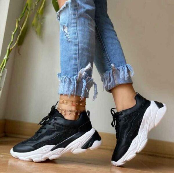 Zapatillas altas para damas bnegro con blanco